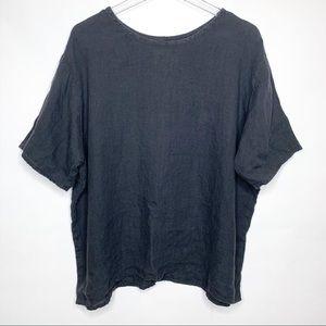 FLAX linen boxy lagenlook black shirt, Size L